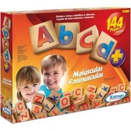 Brinquedo Pedagógico Em Madeira ABC Maiúsculas Minúsculas 144 pçs Xalingo