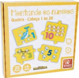 Brinquedo Pedagógico Madeira Montando os Números 1 ao 20, 20 Peças
